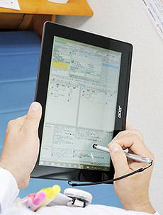 縦長のタブレットの画面に、ファーミーの画面が最適化して表示される