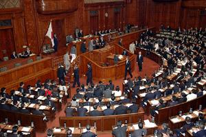 首相指名選挙で投票を行う衆議院議員