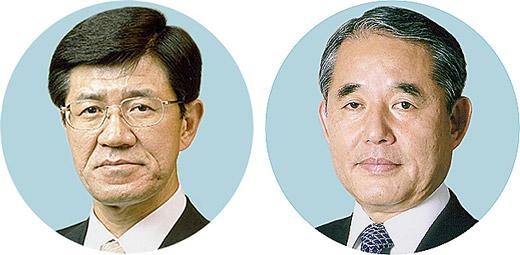 日薬連庄田新会長(左)と製薬協長谷川新会長
