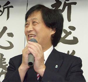 支援者に謝意を述べる藤井氏