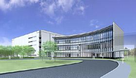 関東工場敷地内に建設中の新工場完成予想図
