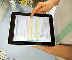 iPadの画面。薬歴を表示させている