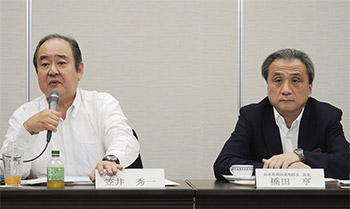 連携の手応えを語る兵庫県薬・笠井秀一会長(左)、兵庫県病薬・橋田亨会長