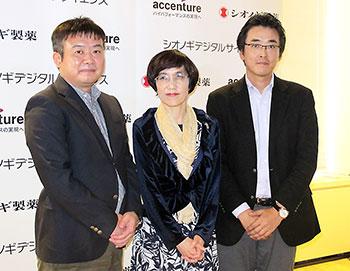 左からシオノギデジタルサイエンスの丸山秀喜社長、澤田氏、永田氏