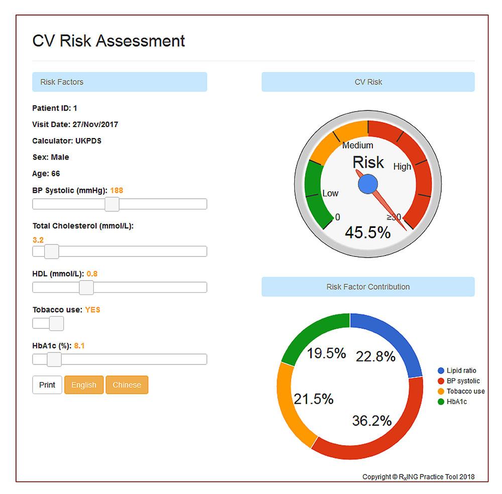 心血管疾患発症リスクやその要因が分かりやすくグラフで表示される。画面左にあるスライドバーを操作するとリスクは変動する