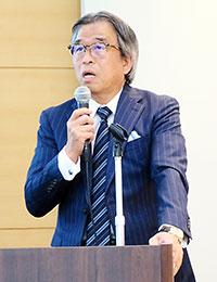 会見する竹内成和社長兼グループCEO