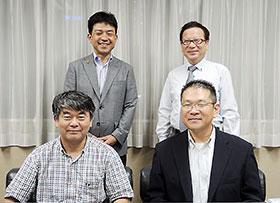 福岡市薬の田中会長(左上)、木原副会長(右下)、高木専務理事(右上)、九州大学の島添准教授