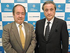 兵庫県薬の笠井会長(左)と兵庫県病薬の橋田会長