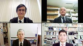 テレビ会議システムで取材に応じる広島大学の組織委員会メンバー(左上から時計回りに小澤、熊本、黒田、紙谷の各氏)